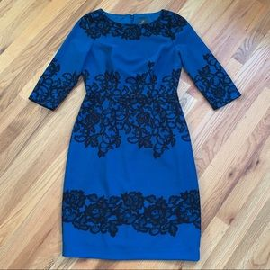 ADRIANNA PAPELL A-Line Black/Blue Dress Sz 4 EUC!!